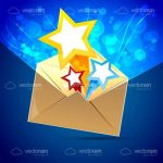 Envelope with Bright Colourful Stars